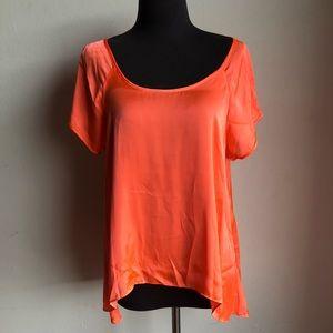 BCBG sz XS silky cold shoulder hi-low blouse